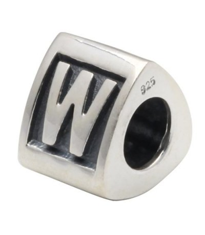 Charms - Letter W Bead Charm 925 Sterling Silver