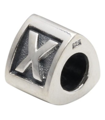 Charms - Letter X Bead Charm 925 Sterling Silver