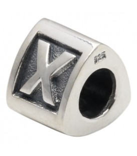 Letter X Bead Charm 925 Sterling Silver