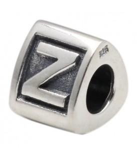 Letter Z Bead Charm 925 Sterling Silver