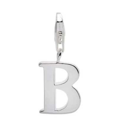 Charms - Letter B Clip On Charm 925 Sterling Silver