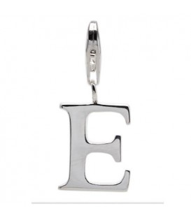 Charms - Letter E Clip On Charm 925 Sterling Silver