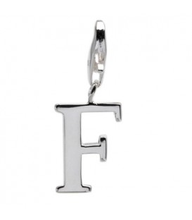 Letter F Clip On Charm 925 Sterling Silver