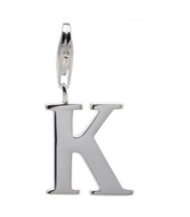 Charms - Letter K Clip On Charm 925 Sterling Silver