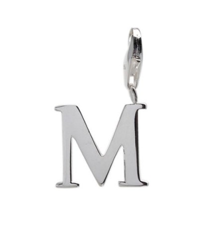 Charms - Letter M Clip On Charm 925 Sterling Silver