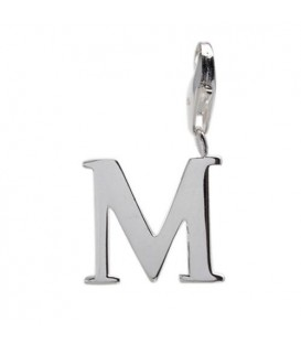 Letter M Clip On Charm 925 Sterling Silver