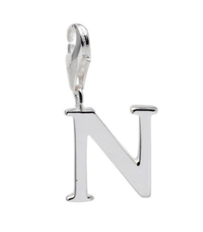 Charms - Letter N Clip On Charm 925 Sterling Silver