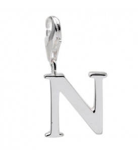 Letter N Clip On Charm 925 Sterling Silver