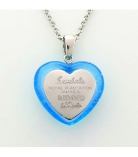 Sterling Silver Sandals Sand in Heart Pendant in 925 Sterling Silver