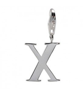 Charms - Letter X Clip On Charm 925 Sterling Silver
