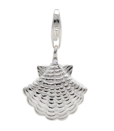 Charms - Sea Shell Clip On Charm 925 Sterling Silver