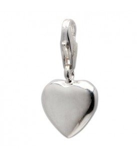 Heart Clip On Charm 925 Sterling Silver
