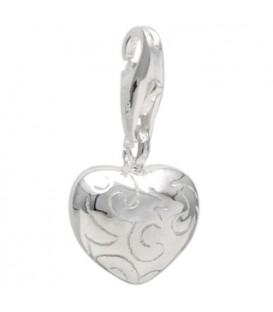 Charms - Engraved Heart Clip on Charm 925 Sterling Silver