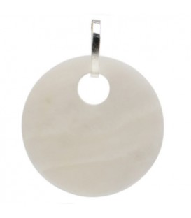 Mother of Pearl Disk Charm 925 Sterling Silver