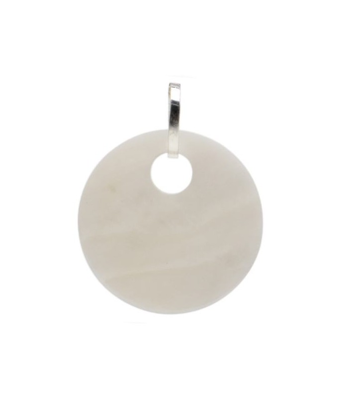 Mother of Pearl Disk Charm in 925 Sterling Silver