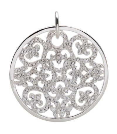Charms - Cut Out Disk Clip on Charm 925 Sterling Silver