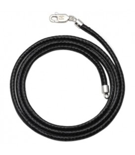 Leather Cord Necklace 925 Sterling Silver