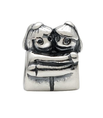 Charms - Couple Hugging Bead Charm 925 Sterling Silver