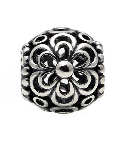 Charms - Flower Bead Charm 925 Sterling Silver
