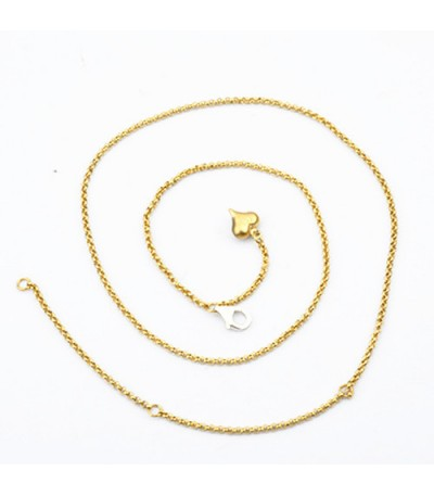 """Necklaces - Rolo Chain Necklace Gold Finish Stainless Gold Finish featured in Stainless Steel Adjustable Necklace 16-21"""""""
