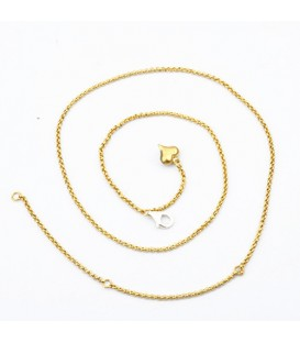 Rolo Chain Necklace Gold Finish Stainless Steel Adjustable Necklace 16-21""