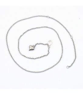 Necklaces - Rolo Chain Necklace Silver Finish Stainless Gold Finish featured in Stainless Steel Adjustable Necklace 16-21""
