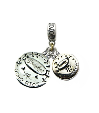Beaches Ocho Rios' Greek House & Jamaica Long Tailed Hummingbird Sterling Silver Bead Charms