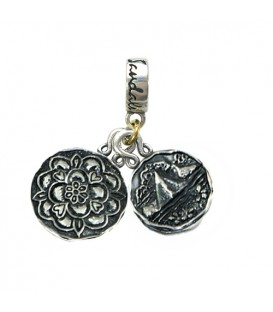 Grande St. Lucian's Tudor Rose & St. Lucia Les Pitons Sterling Silver Bead Charm