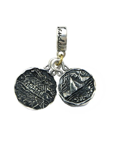 Charms - Grande St. Lucian's Tudor Rose & St. Lucia Les Pitons Sterling Silver Bead Charm