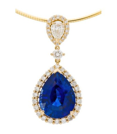 Necklaces - 13.48 Carat Ceylon Sapphire and Diamond Pendant 18Kt Yellow Gold