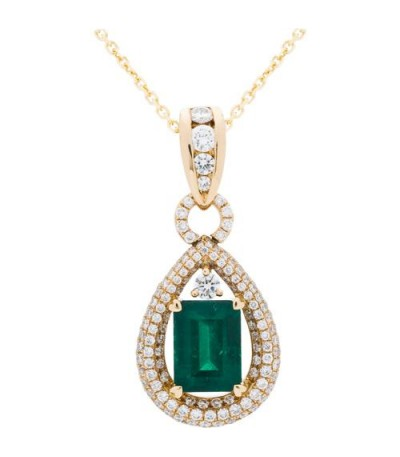 Necklaces - 4.17 Carat Colombian Emerald and Diamond Pendant 18Kt Yellow Gold