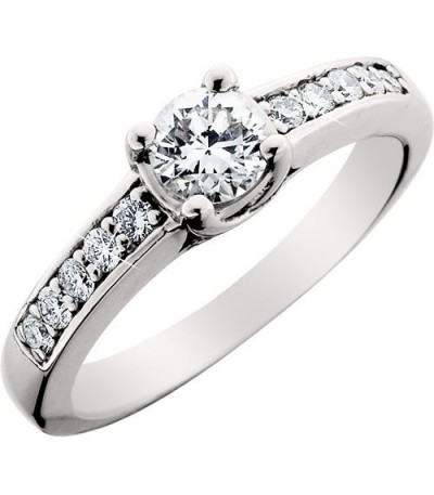Rings - 0.75 Carat Round Brilliant Diamond Solitaire Ring 18Kt White Gold