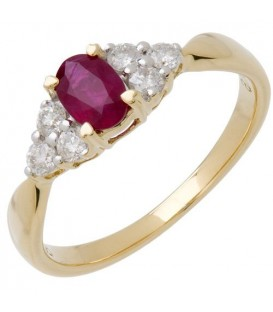 Rings - 0.98 Carat Oval Cut Ruby and Diamond Ring 14Kt Yellow Gold