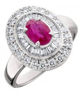 Rings - 1.56 Carat Oval Cut Ruby and Diamond Ring 14Kt White Gold