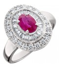 1.56 Carat Oval Cut Ruby and Diamond Ring 14Kt White Gold