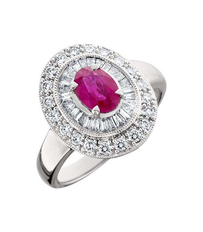 Oval Cut 1 56ct Ruby And Diamond Ring 14kt White Gold Amoro