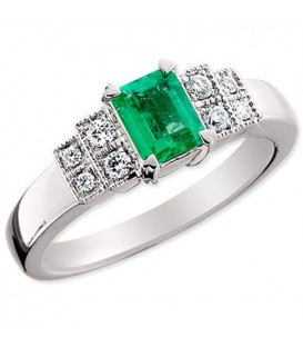 Rings - 0.73 Carat Emerald Cut Colombian Emerald and Diamond Ring 18Kt White Gold
