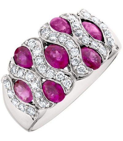 Rings - 2.51 Carat Oval Cut Ruby and Diamond Ring 14Kt White Gold