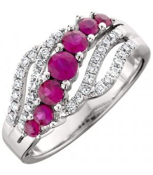 Rings - 1 Carat Round Cut Ruby and Diamond Ring 14Kt White Gold