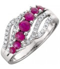 1 Carat Round Cut Ruby and Diamond Ring 14Kt White Gold