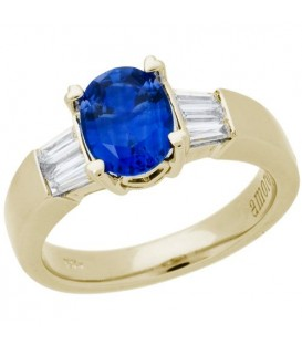 Rings - 1.65 Carat Oval Cut Sapphire and Diamond Ring 18Kt Yellow Gold