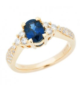 Rings - 1.67 Carat Oval Cut Sapphire and Diamond Ring 18Kt Yellow Gold