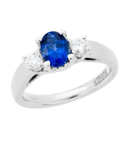 Rings - 1.28 Carat Oval Cut Ceylon Sapphire and Diamond Ring 18Kt White Gold