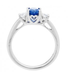1.28 Carat Oval Cut Ceylon Sapphire and Diamond Ring 18Kt White Gold