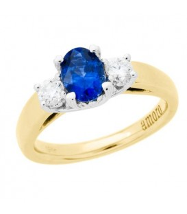 Rings - 1.28 Carat Oval Cut Ceylon Sapphire and Diamond Ring 18Kt Yellow Gold