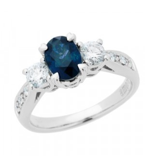 Rings - 1.72 Carat Oval Cut Sapphire and Diamond Ring 18Kt White Gold
