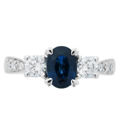1.72 Carat Oval Cut Sapphire and Diamond Ring 18Kt White Gold
