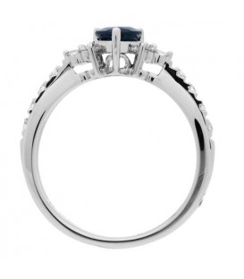 0.93 Carat Pear Cut Sapphire and Diamond Ring 14Kt White Gold