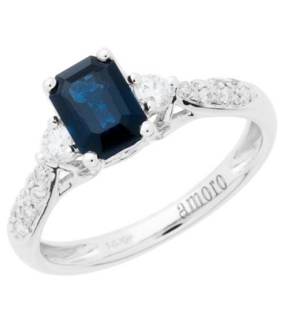 Rings - 1.41 Carat Emerald Cut Sapphire and Diamond Ring 14Kt White Gold
