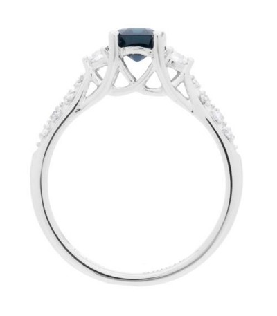 1.41 Carat Emerald Cut Sapphire and Diamond Ring 14Kt White Gold